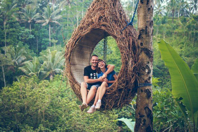 mand og kvinde sidder i et træ og smiler